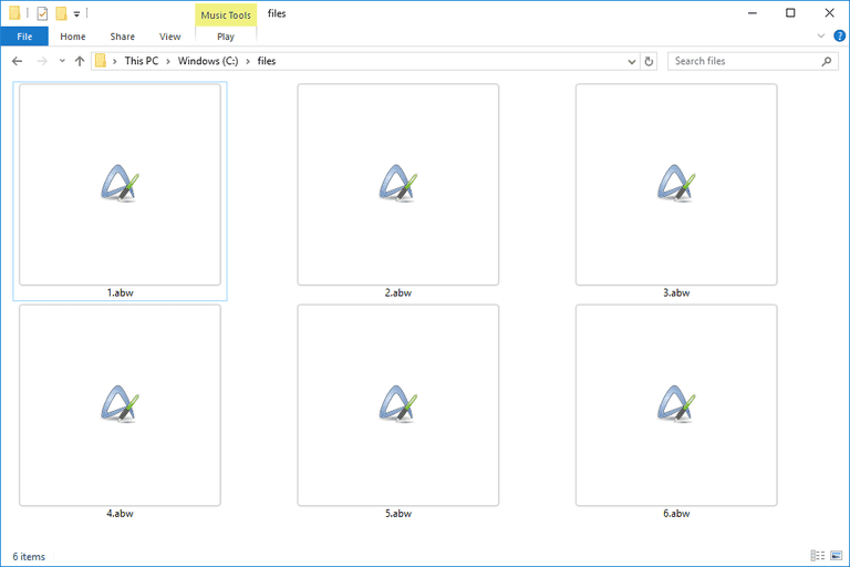 Screenshot of several ABW files in Windows 10 that open with AbiWord