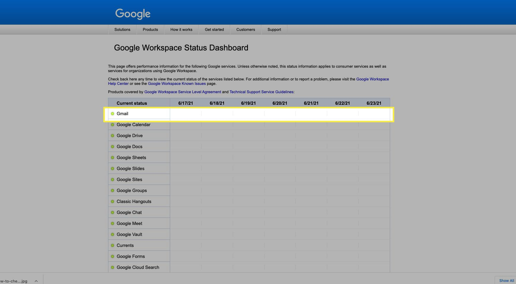 Google Workspace Status board showing Gmail with green dot and no problems