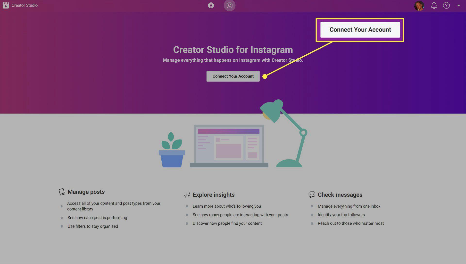 Instagram Creator Studio website.