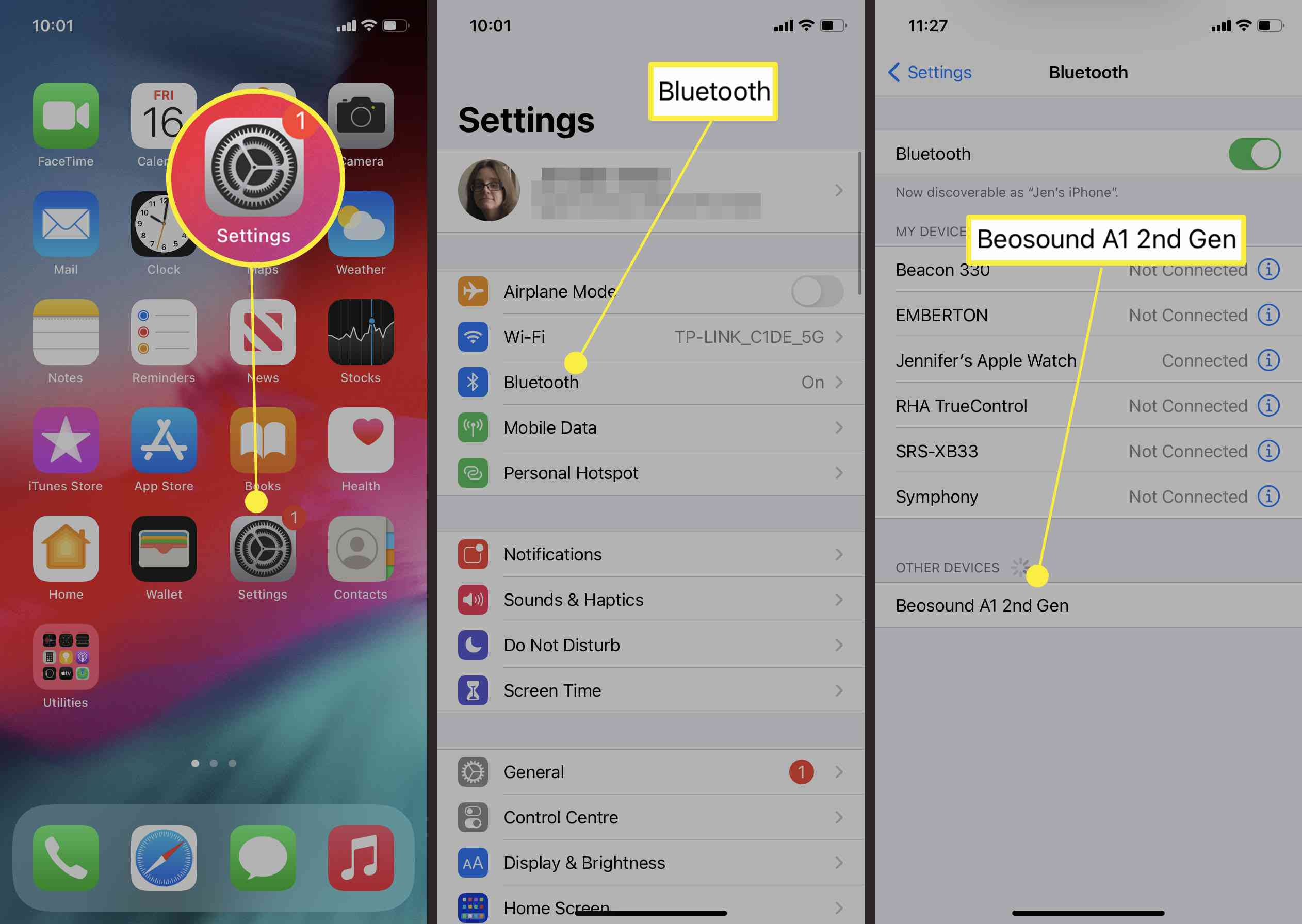 Steps required to connect Bluetooth speaker in iOS