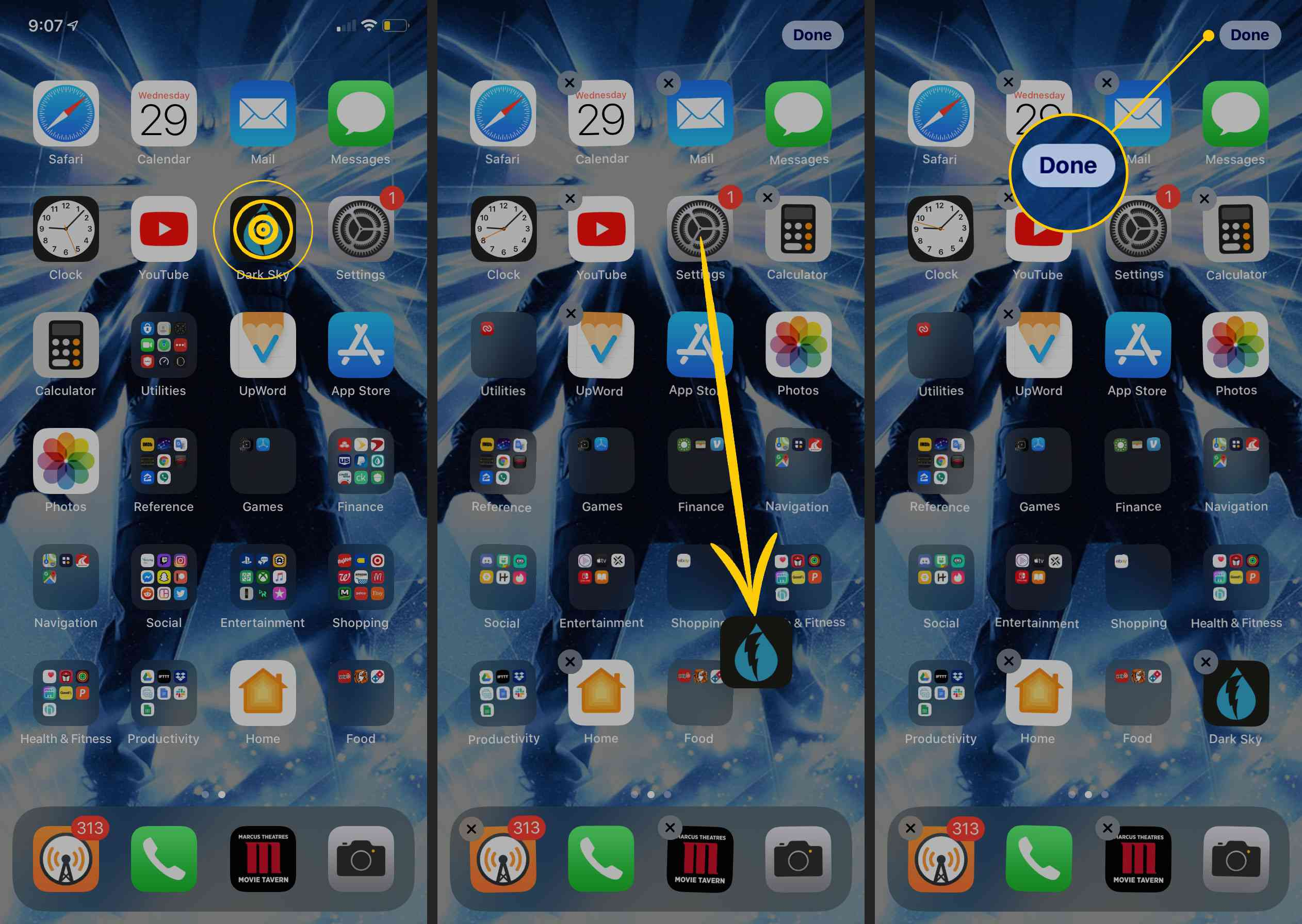 Moving an app on the iPhone home screen