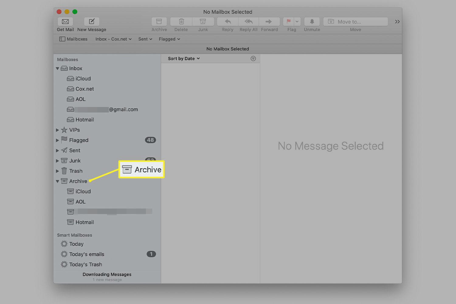 Mac Mail showing location of Archive mailboxes