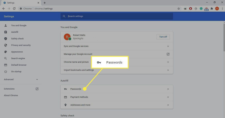 Passwords in Chrome settings