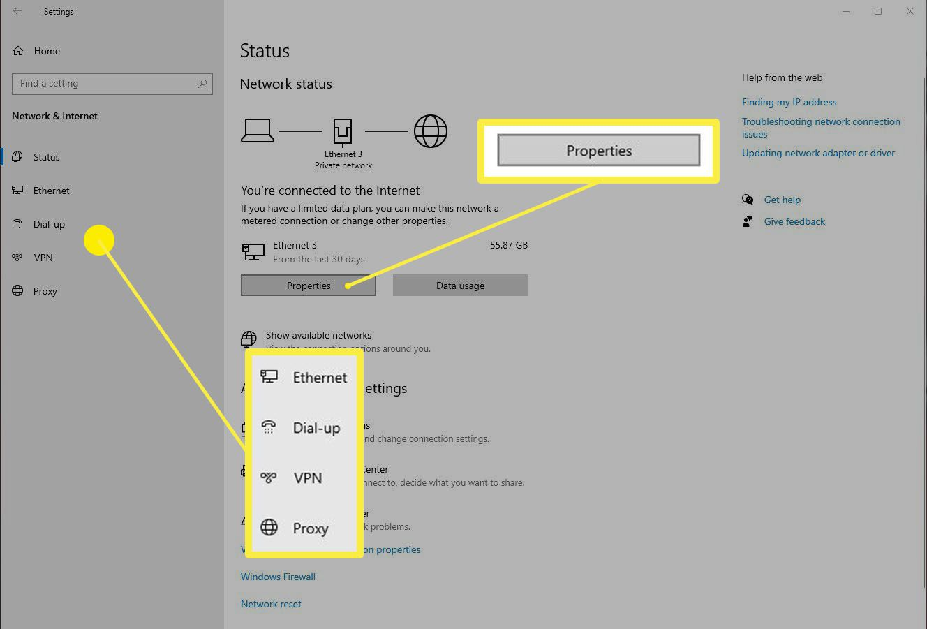 Selecting a Network Connection from Network & Internet in Windows Settings.
