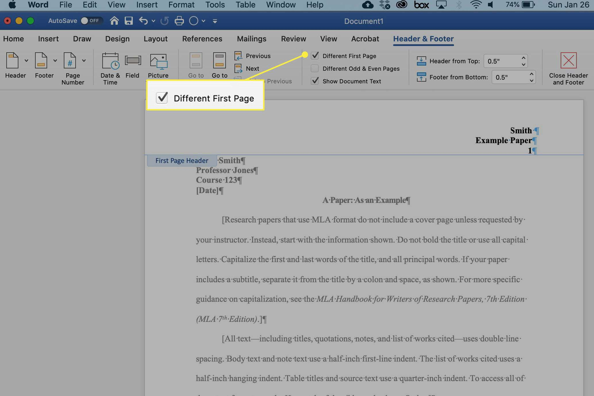 A screenshot of Word with the Different First Page option highlighted