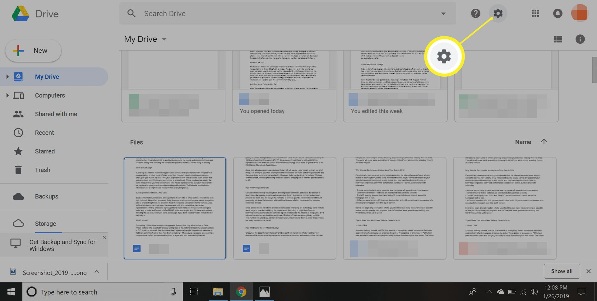 Google Drive Settings gear icon