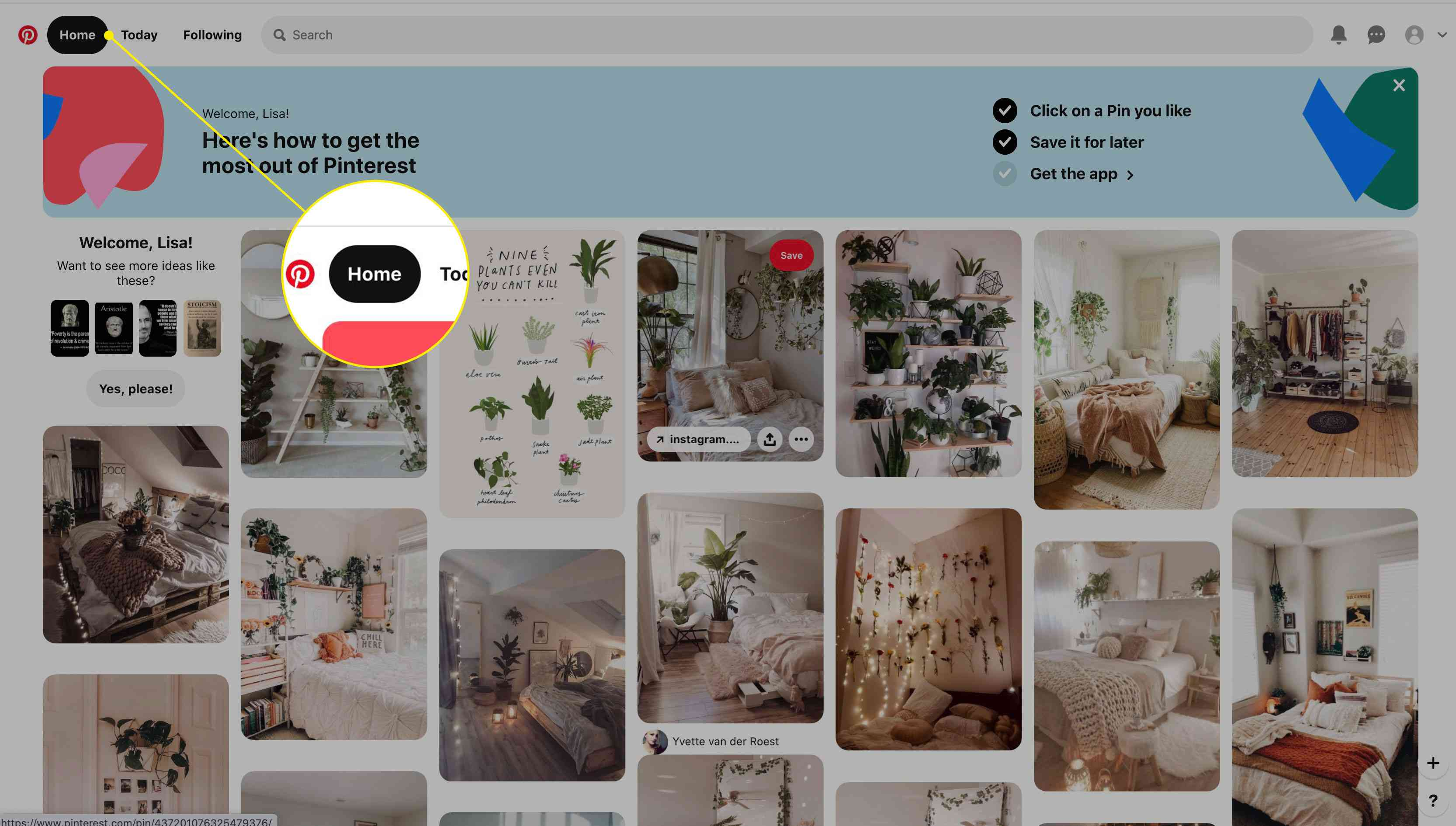 The Home tab in Pinterest