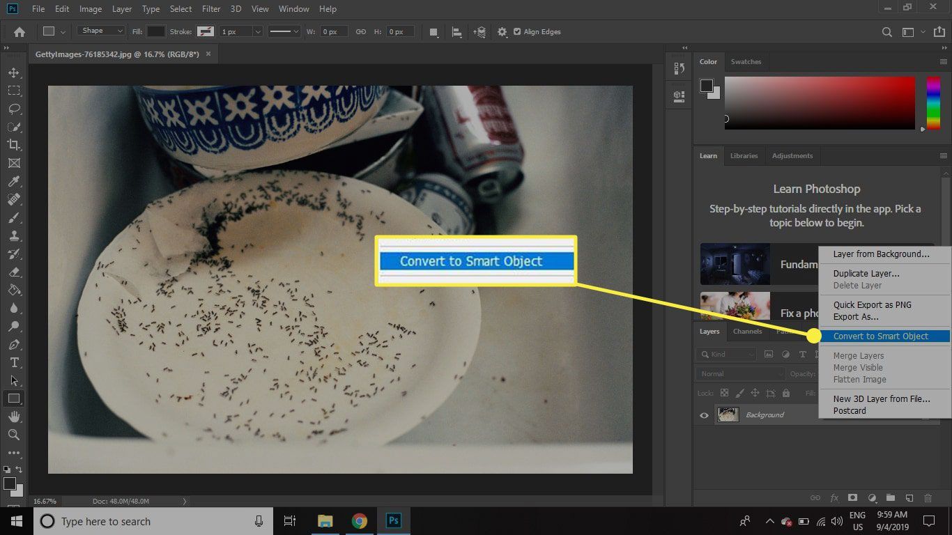 A screenshot of Photoshop with the Convert to Smart Object command highlighted