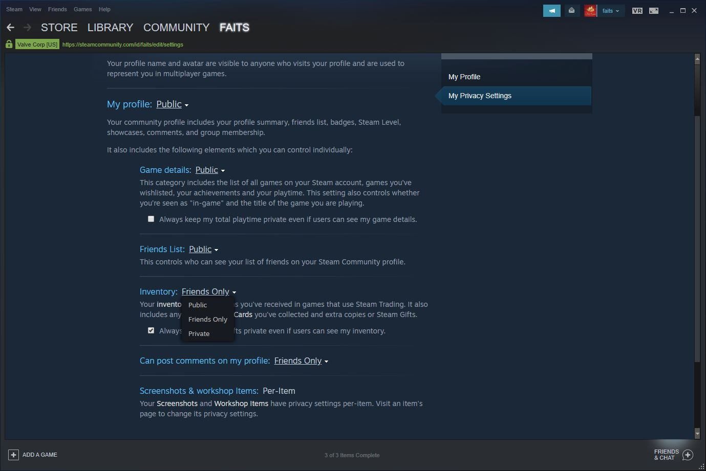 A screenshot of the Steam privacy settings options.