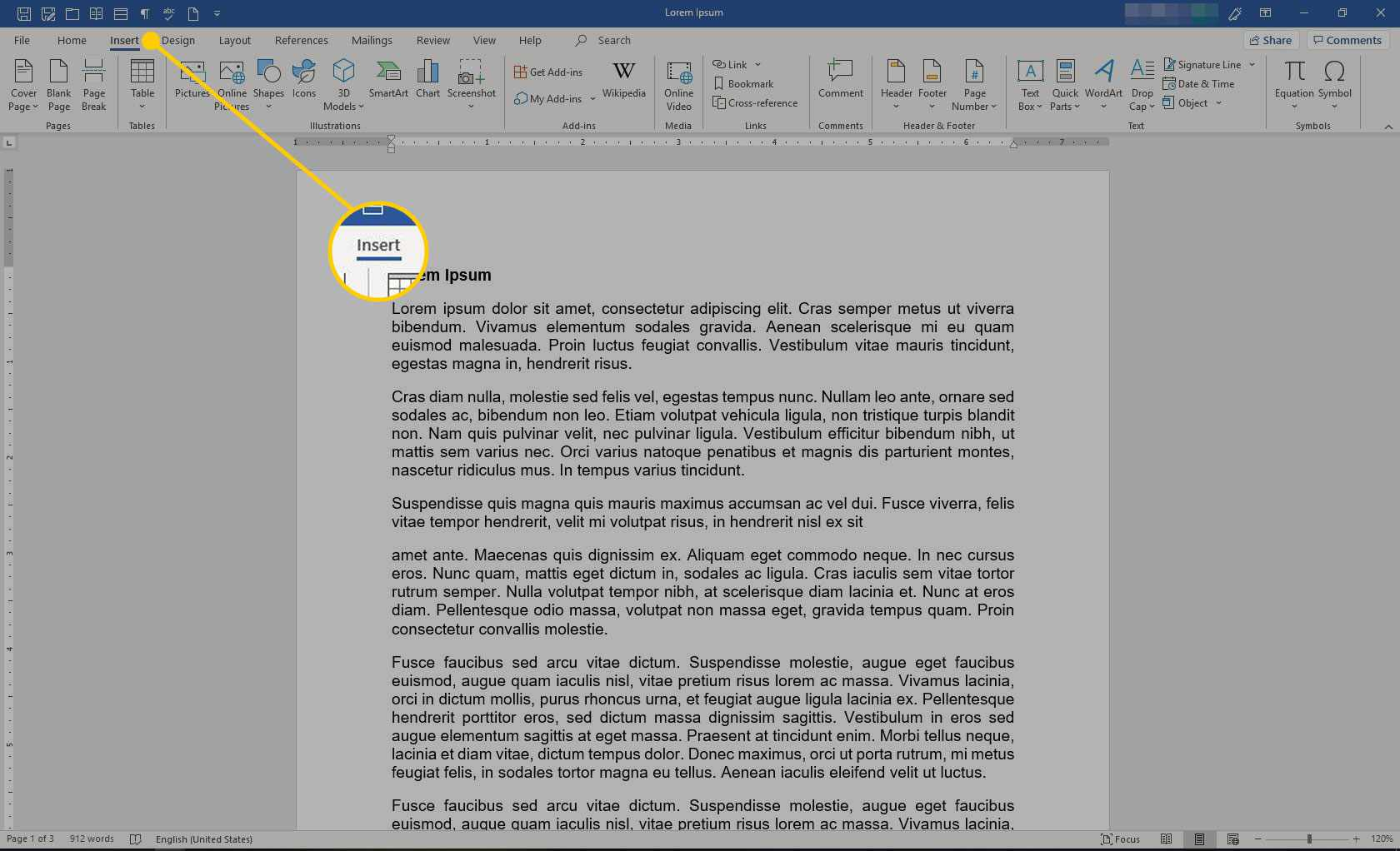 Microsoft Word with the Insert heading highlighted