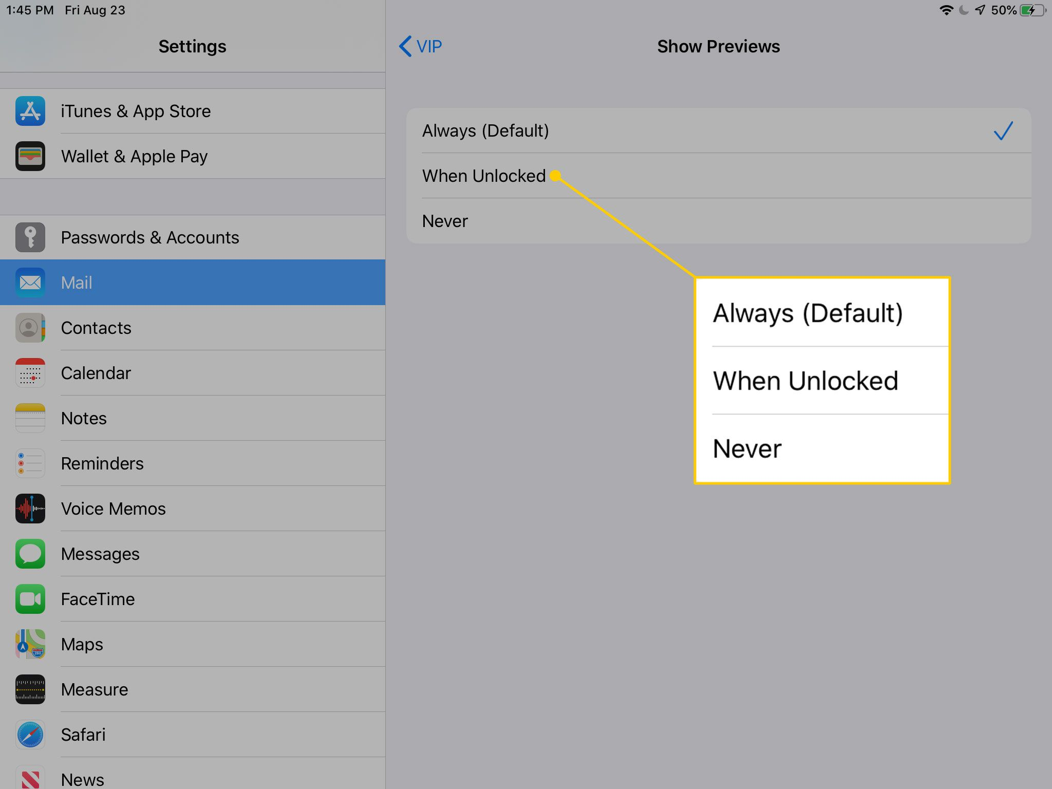 Notifications preview settings in iOS
