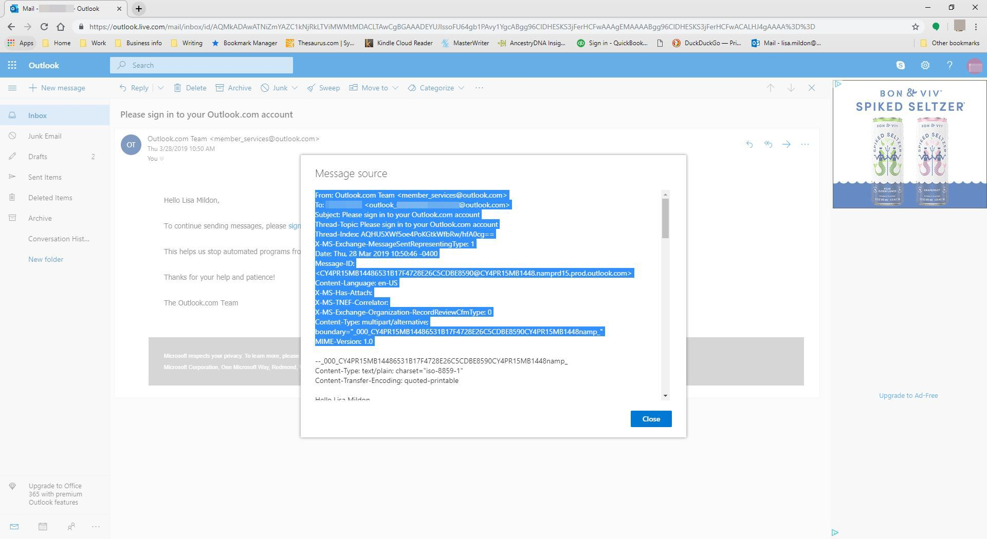 Viewing an email header in Outlook.com