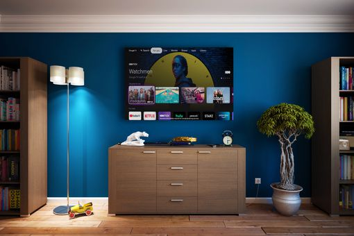 Google TV displayed on a TV in a living space.