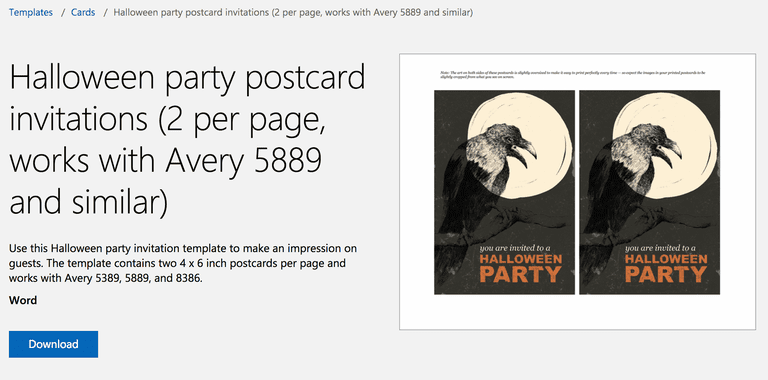 raven halloween party invitation postcard template for microsoft word