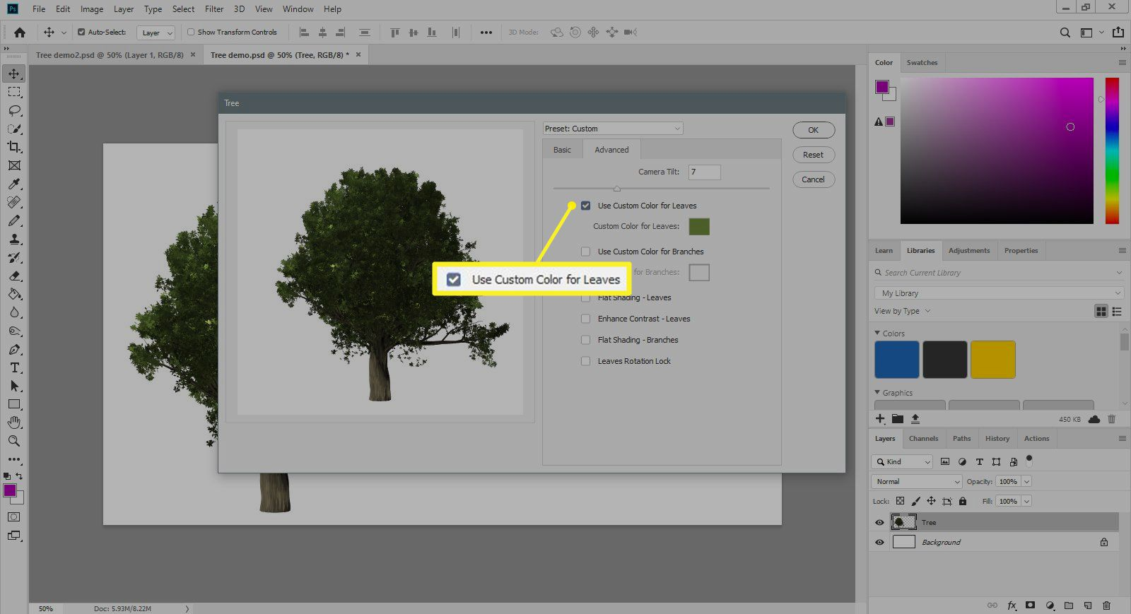 The Tree Filter dialogue Advanced tab with Use Custom Color for Leaves selected