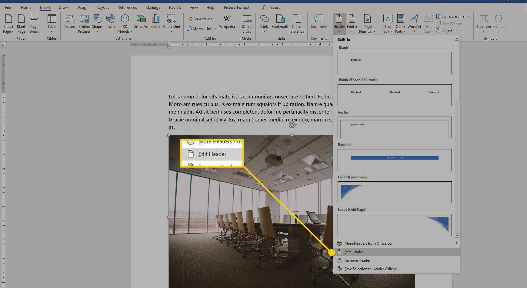 Edit Header command in Word