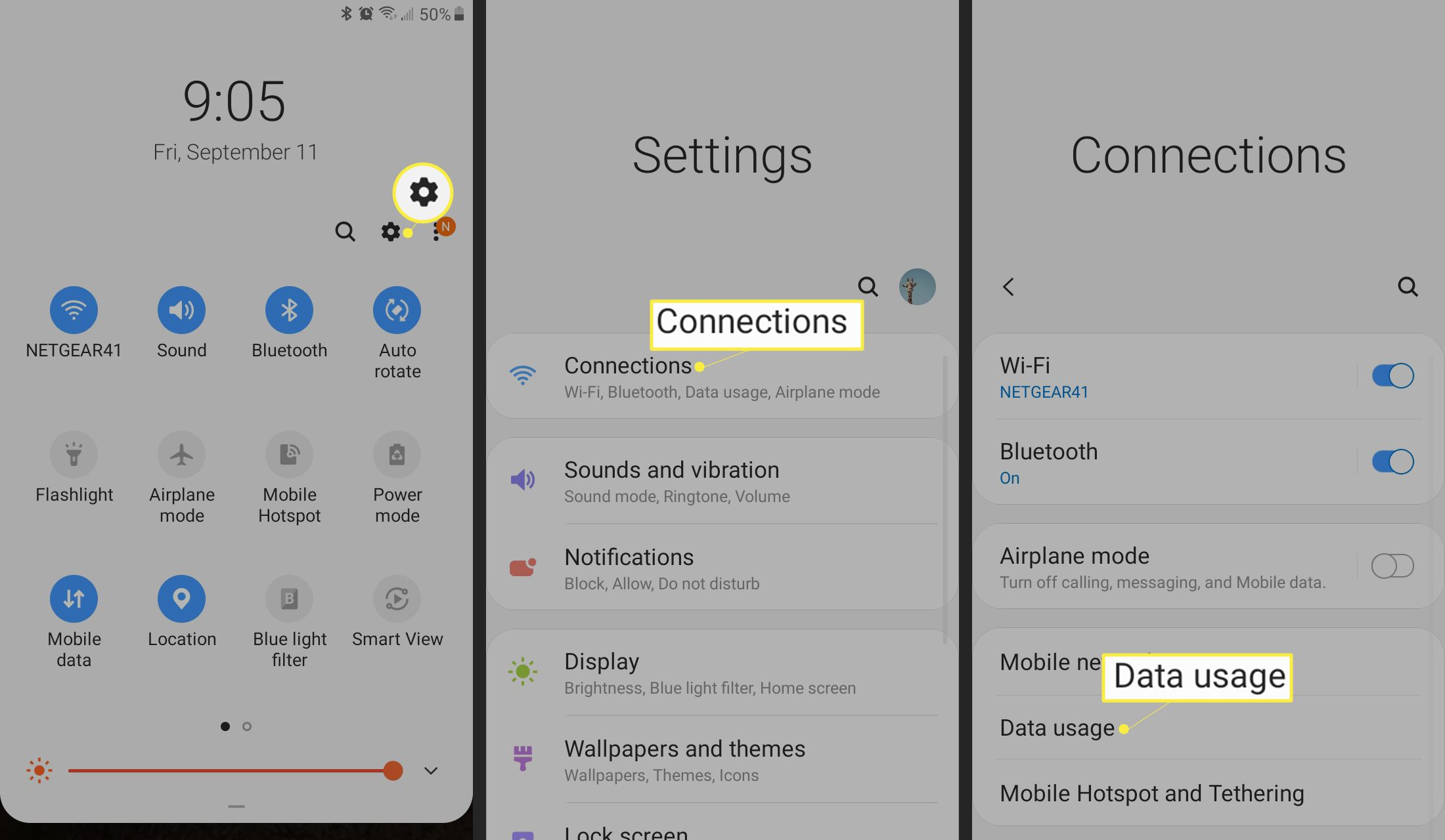 Tap Settings > Connections > Data usage on Android.