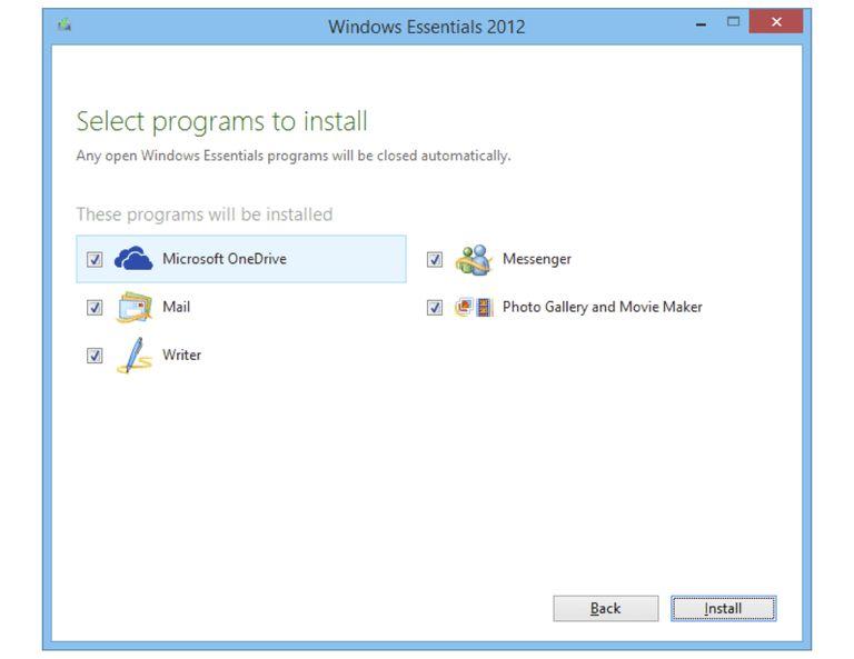 Screenshot of Windows Essentials 2012
