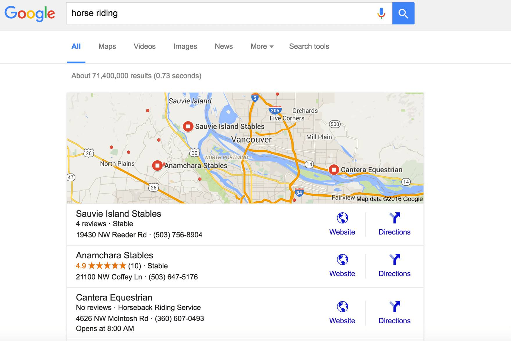 Google search for horse riding