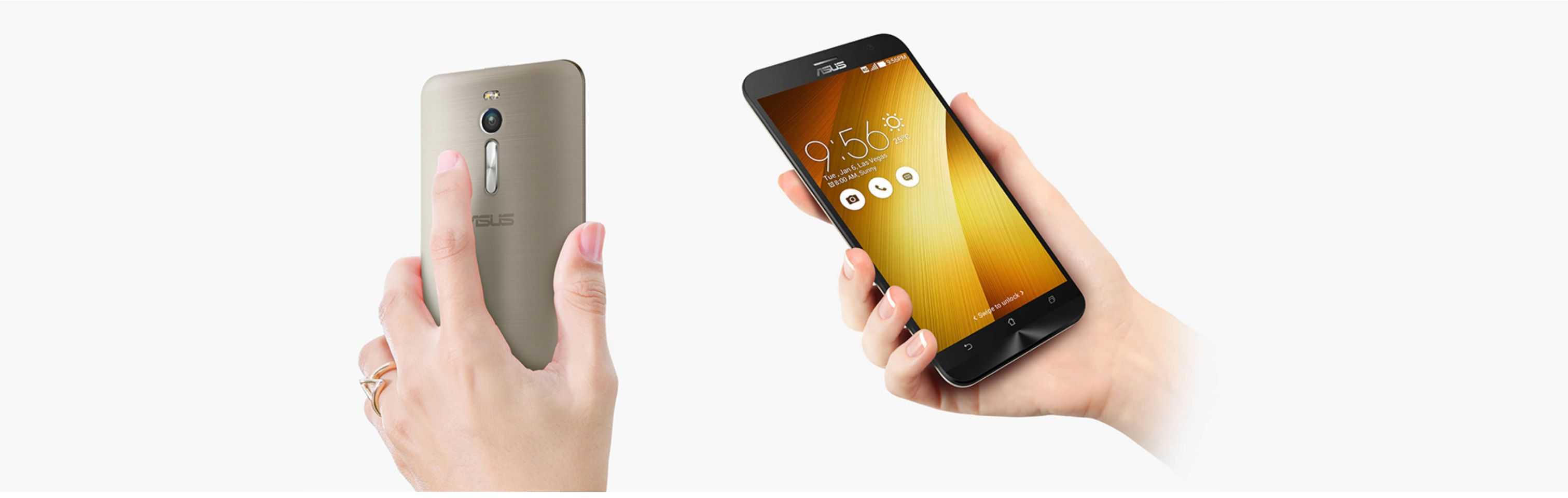 Asus ZenFone 2, front and back view, held in hands