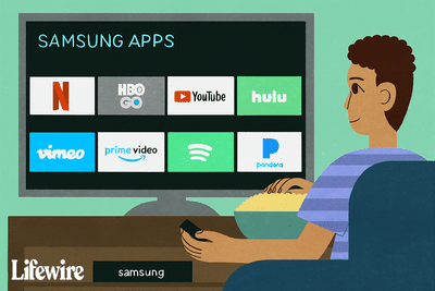 Illustration of Samsung Apps on an HDTV.