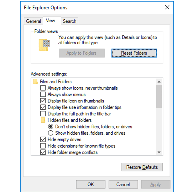 Screenshot of the File Explorer Options window in Windows 10