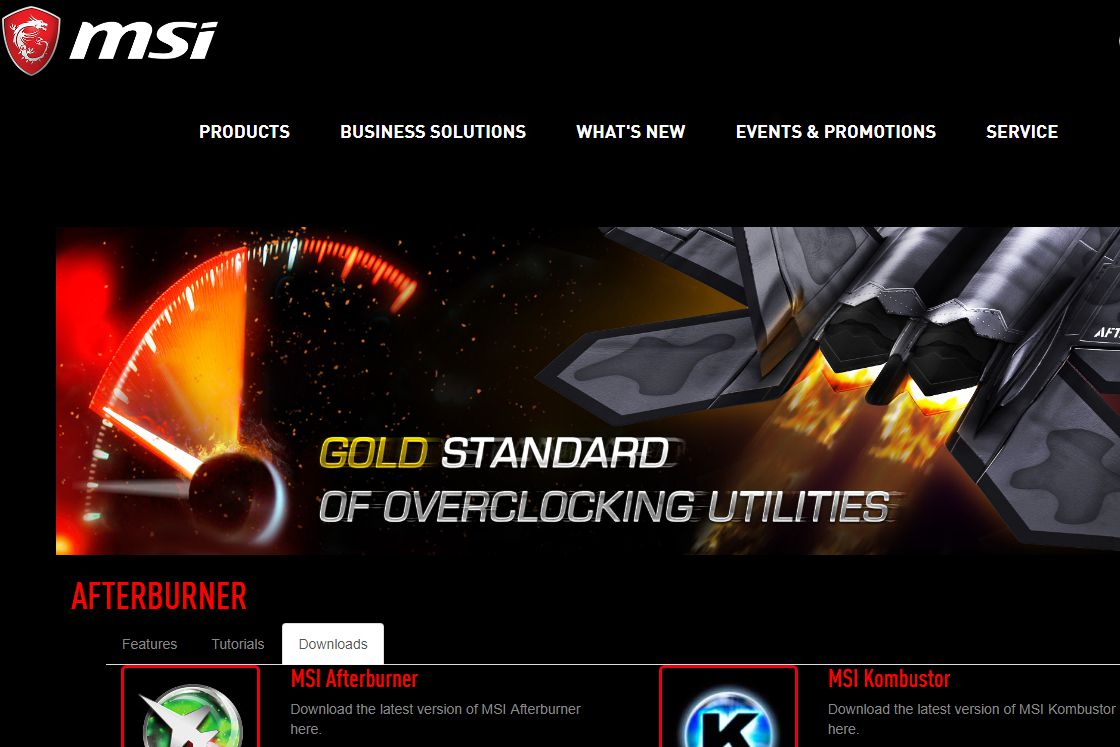 MSI website's Afterburner software download