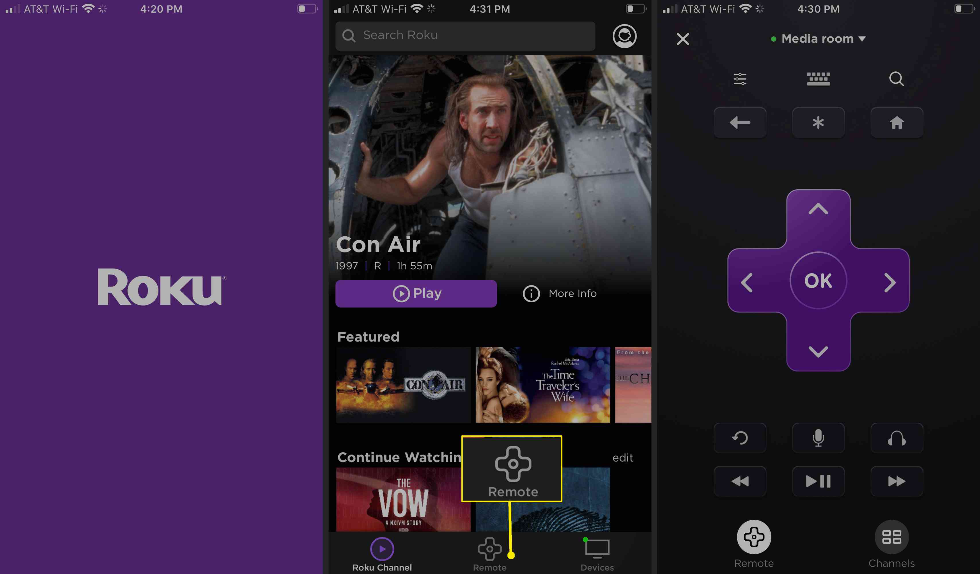 Access the Roku remote on the Roku mobile app by tapping Remote