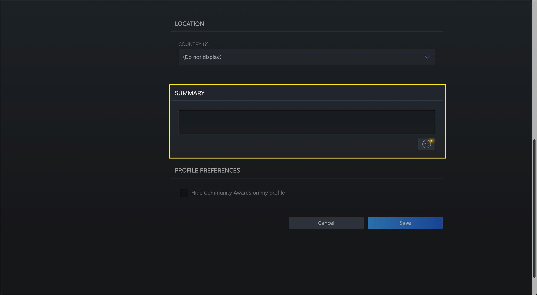The Summary box in a Steam profile