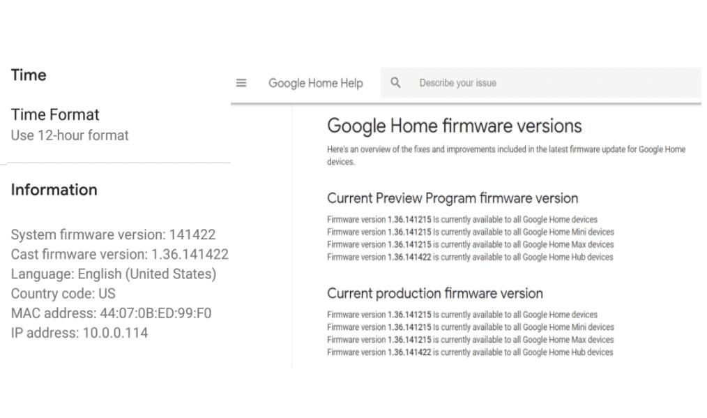 Screenshot of Google Home app and website firmware.
