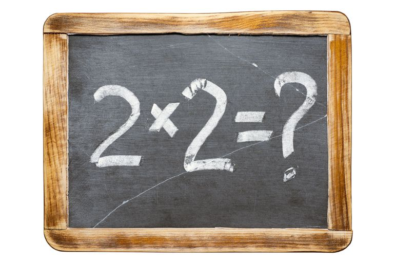 A slate showing a two number multiplication problem.