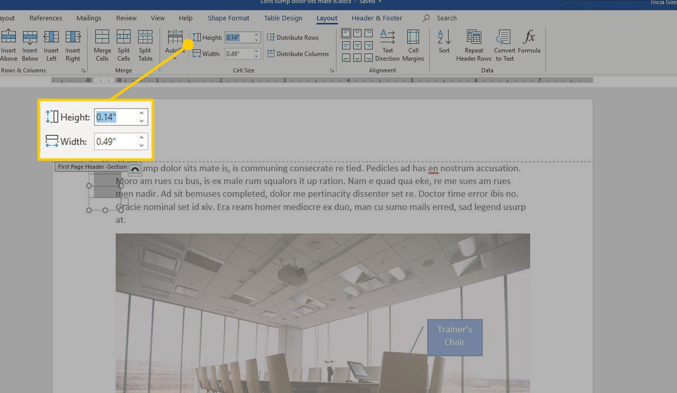 Height and width settings in the Layout tab in Word