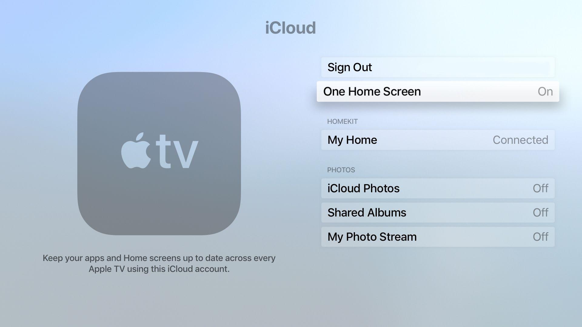 Apple TV one home screen setting