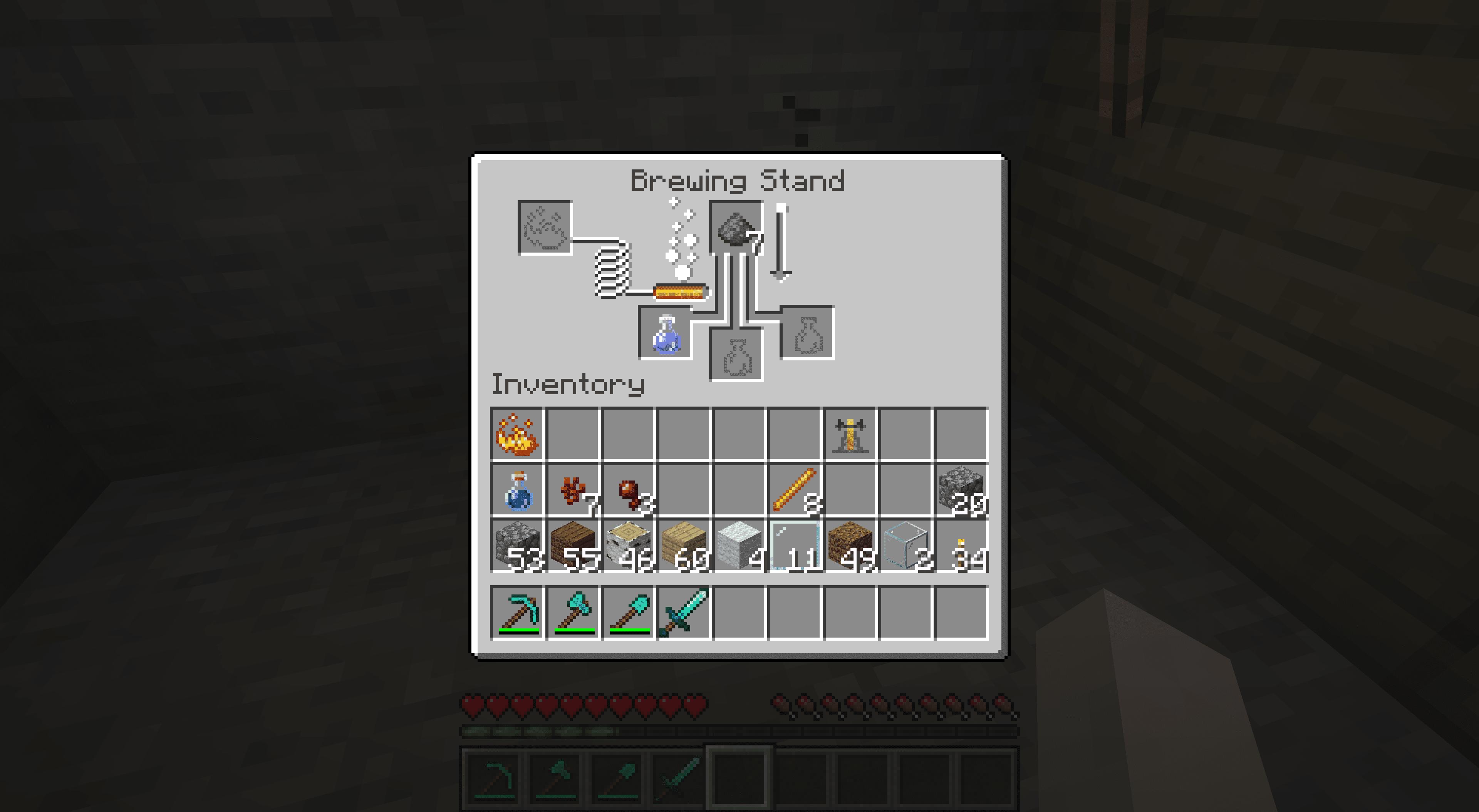 Brewing a poison splash potion in Minecraft.