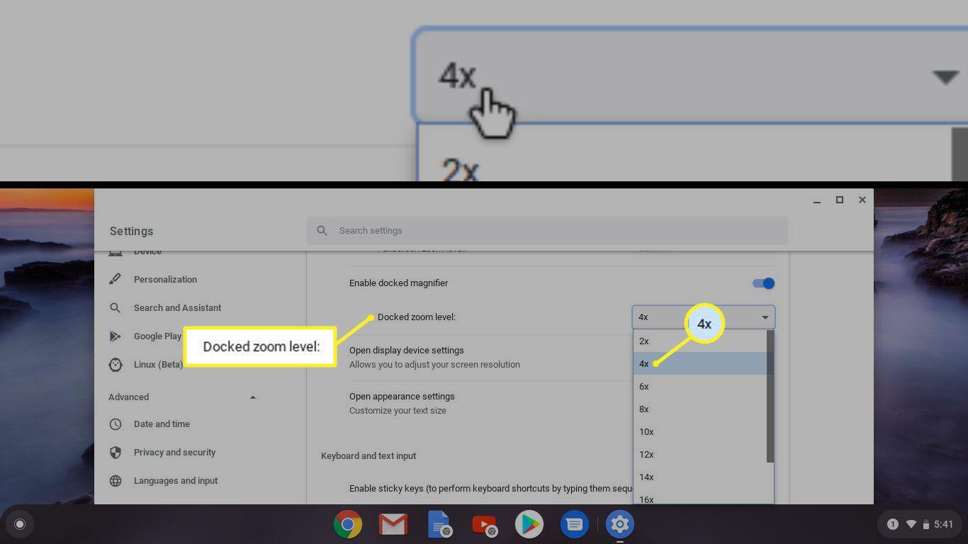 Chromebook docked magnifier zoom level settings