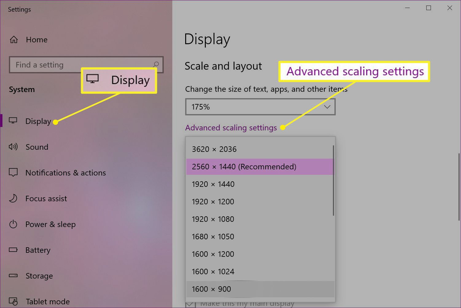 Windows Display settings with Advanced scaling settings highlighted