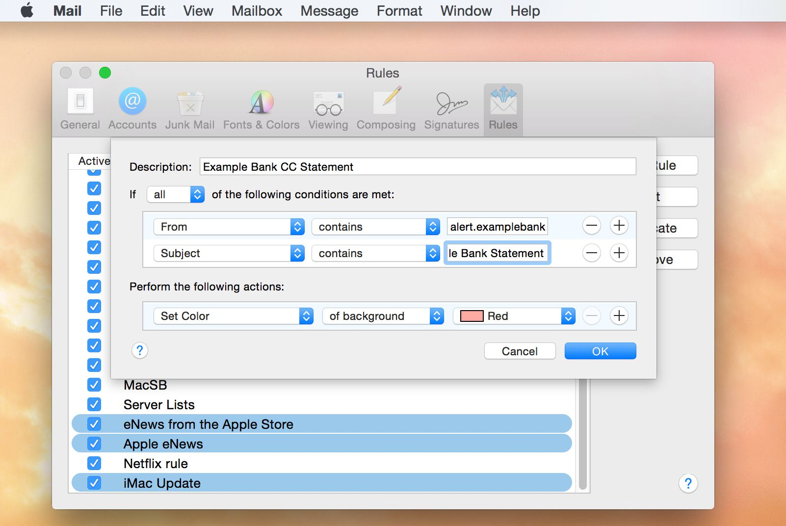 Apple Mail Rule Editor