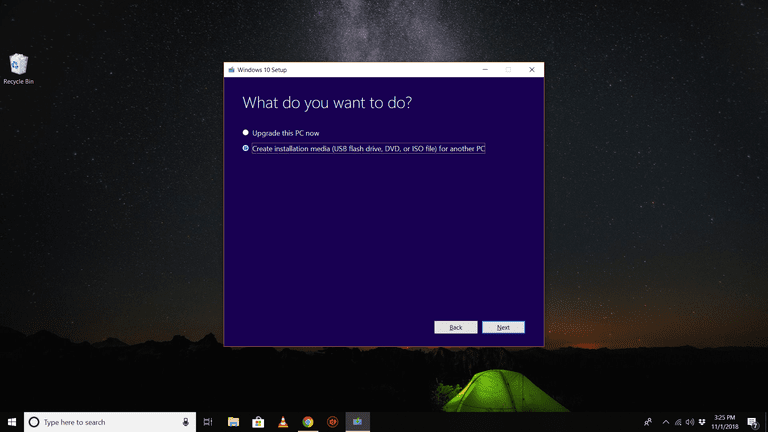 What do you want to do? selection screen in Windows 10 Setup tool