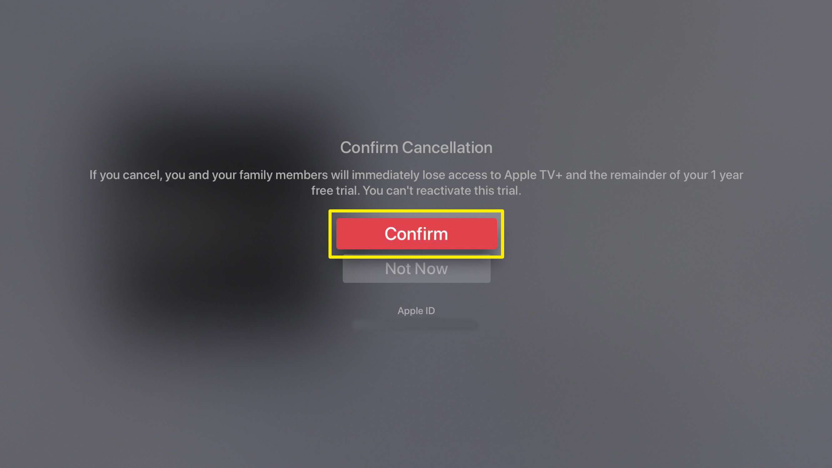 Screenshot of confirming the cancellation of an Apple TV subscription