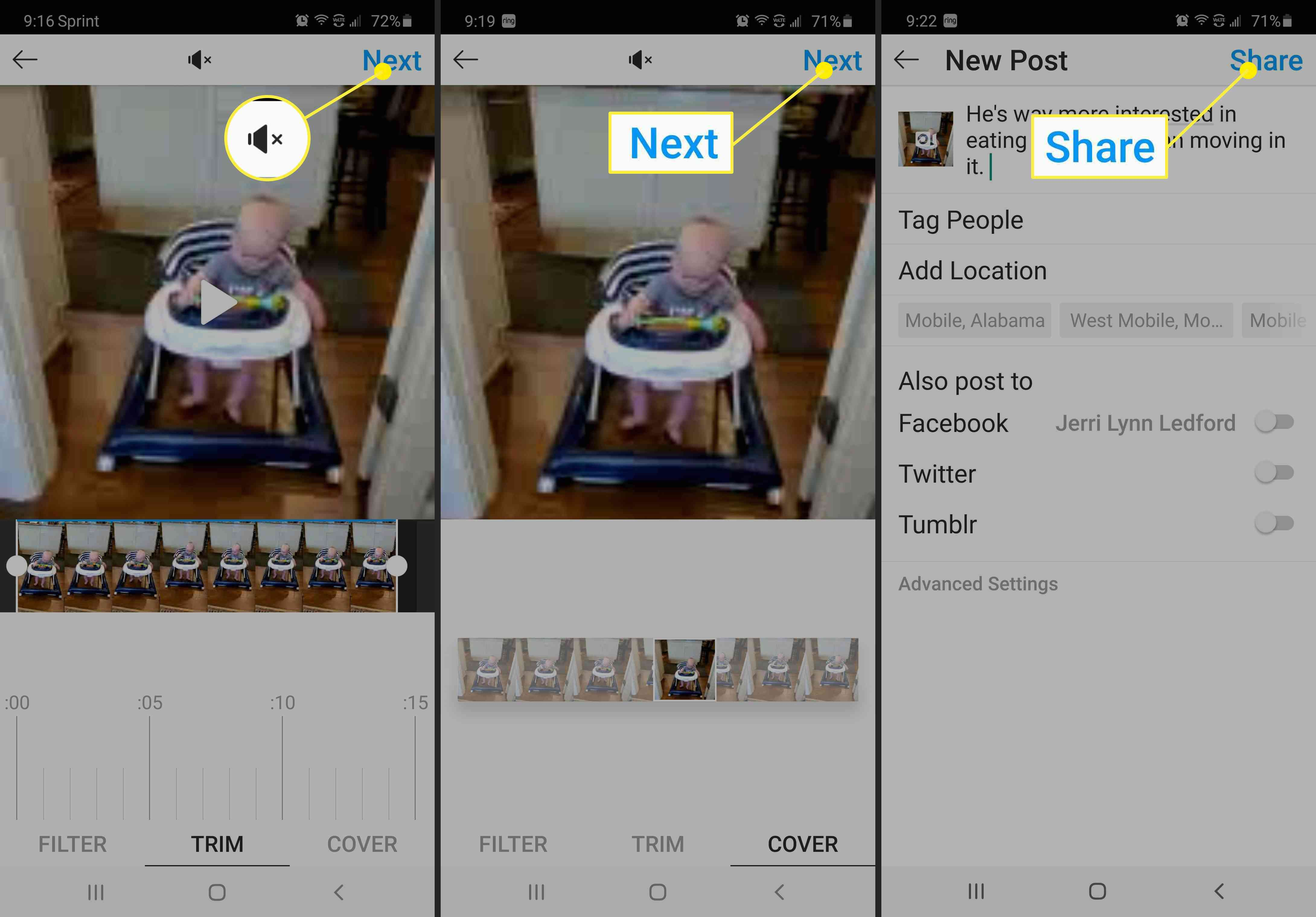 Screenshots of finalizing a video post to Instagram.