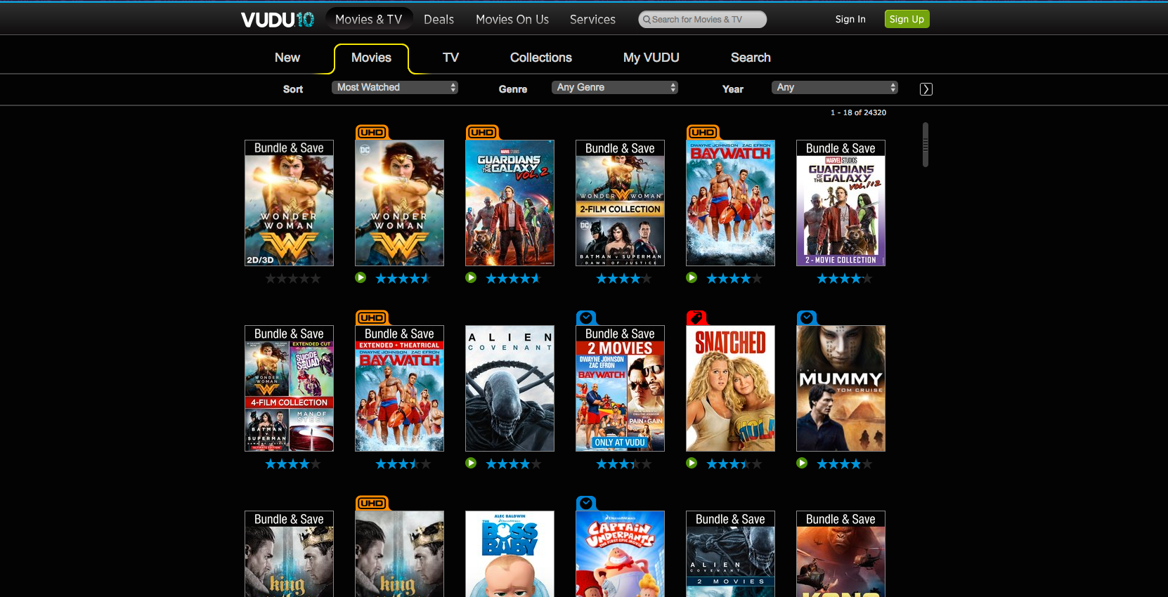 Vudu web interface for Movies category