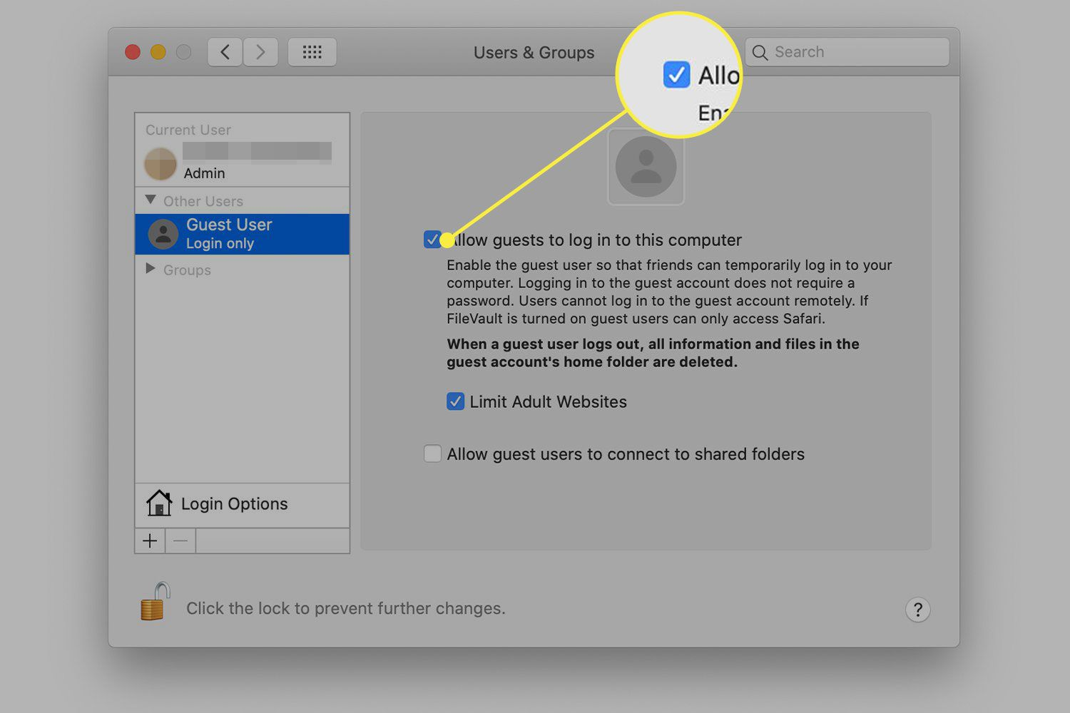 A screenshot of Users & Groups in macOS with the