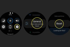 The Reset option from the Quick panel and Settings menus on the Samsung Galaxy Watch Active2.