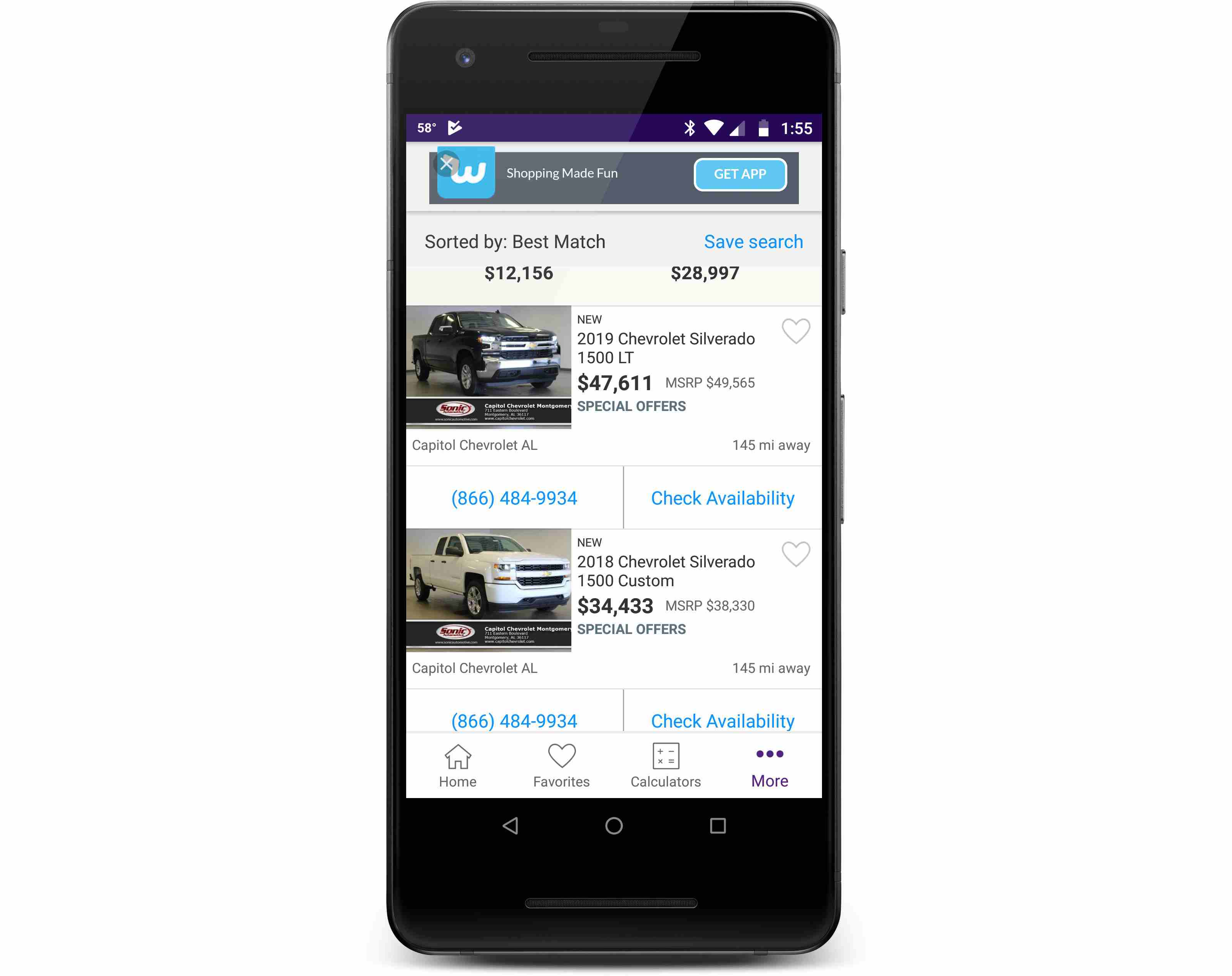 The Cars.com app displayed on a phone