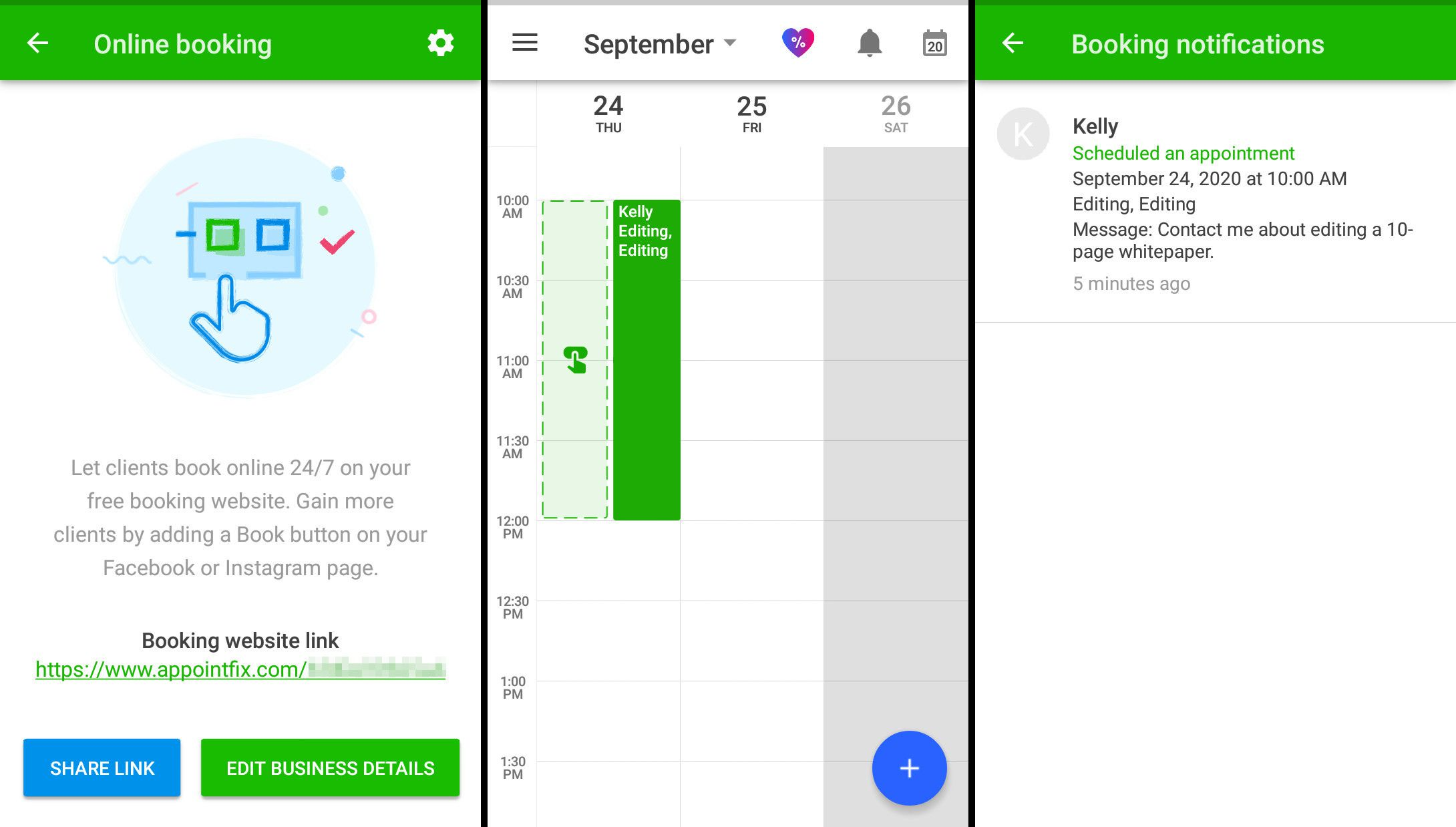 Get a booking link, view calendars, and display notifications in Appointfix