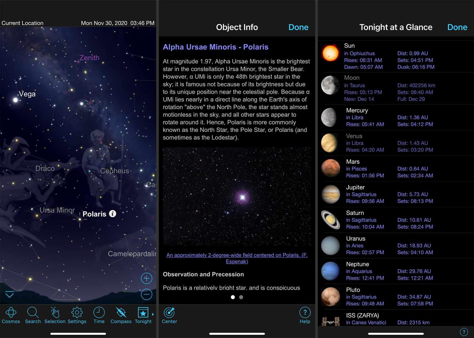 Screenshots from the SkySafari App.