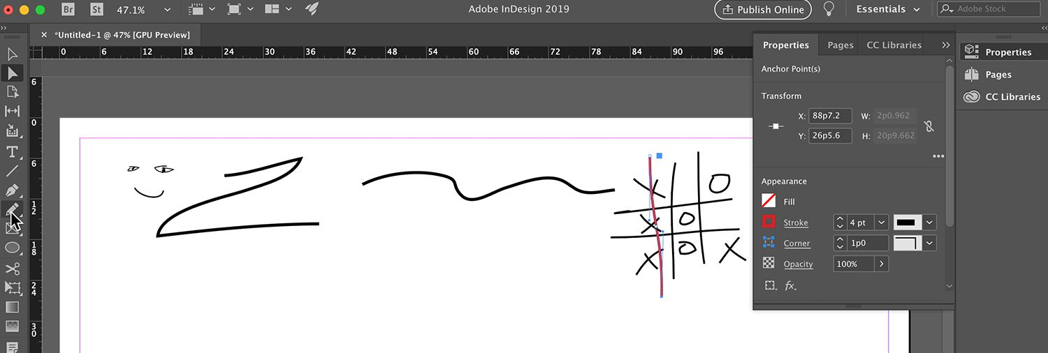 Adobe InDesign CC Selection, Type, Line-Drawing Tools