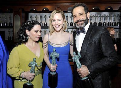 Alex Borstein, Rachel Brosnahan, and Tony Shalhoub at the SAG Awards.