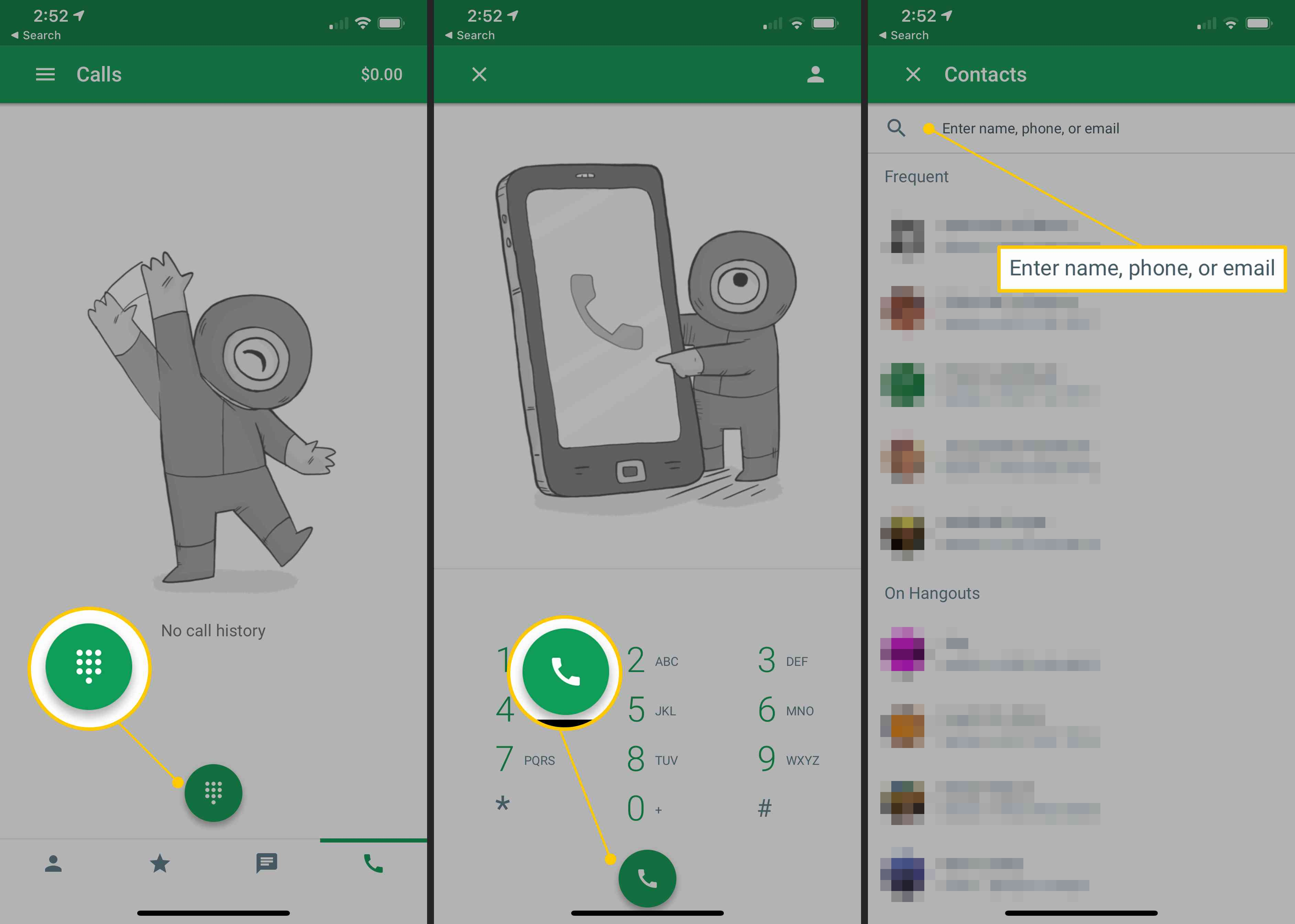 Dialer, Phone call icon, Contacts search in mobile Hangouts app on iOS