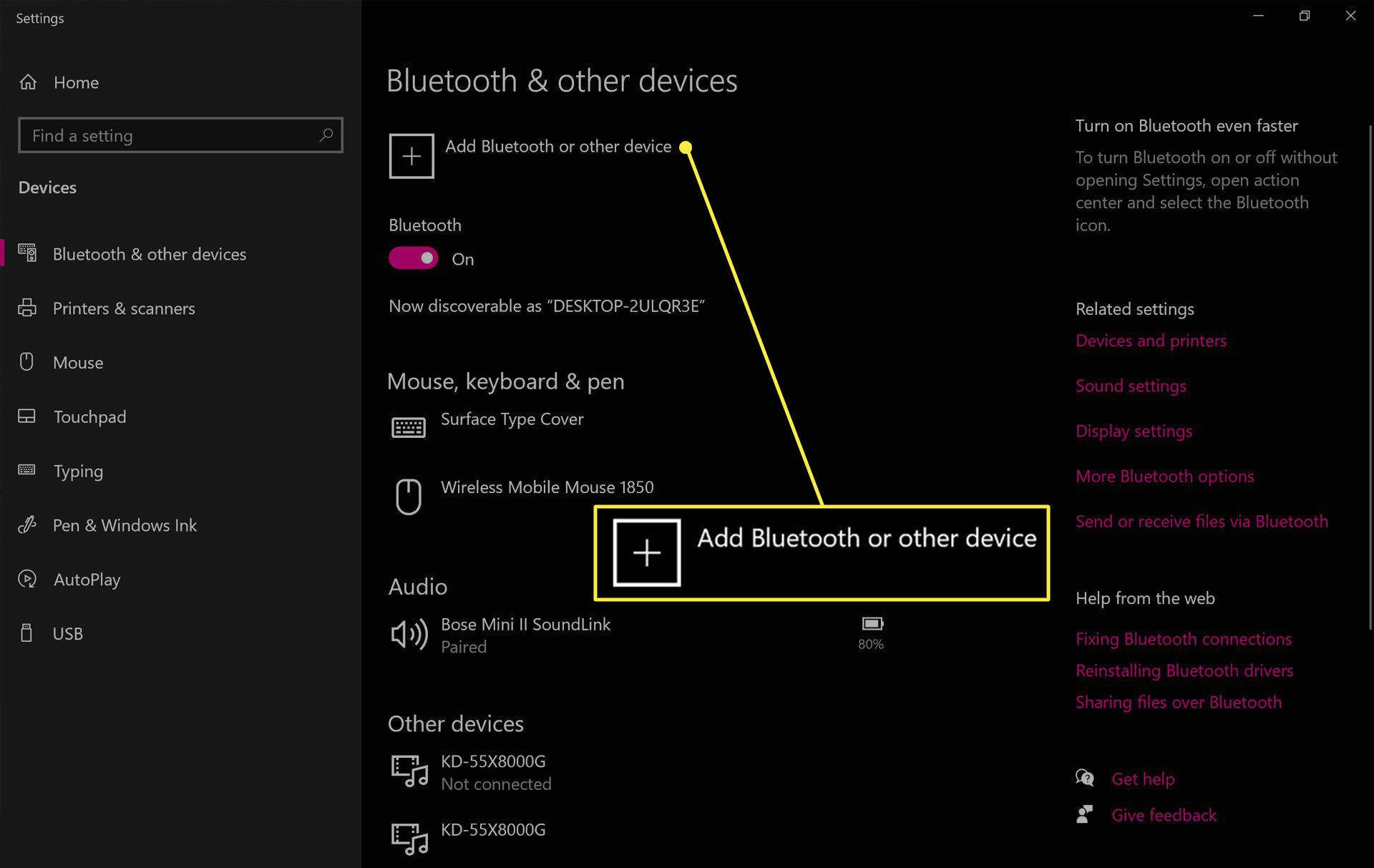 Windows 10 Bluetooth settings.